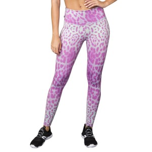 Pink Sun Lavender Leopard High Rise Womens Full Length Tights