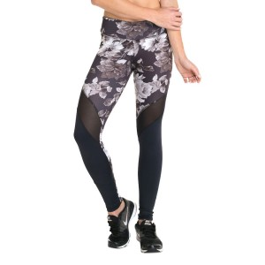 Pink Sun Floral Mesh Womens Full Length Tights